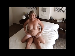 Busty granny riding load of..
