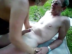Mature couple alfresco..